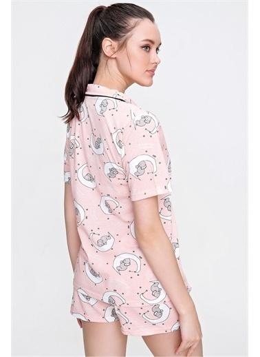 Pink Park Desenli Şortlu Pijama Takım CL00002 Somon